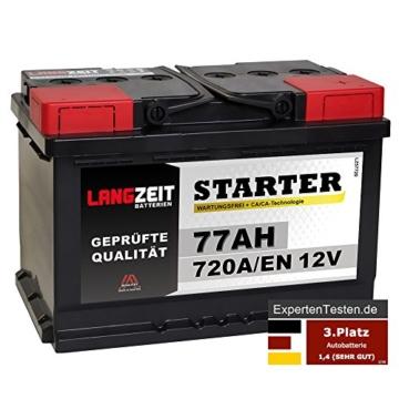 LANGZEIT Autobatterie 12V 77Ah
