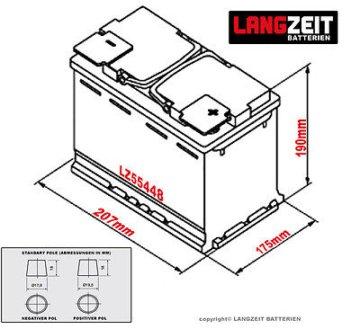 LANGZEIT Autobatterie 12V 54Ah ersetzt 40AH 43AH 44AH 45AH 46AH 50AH 52AH 53Ah